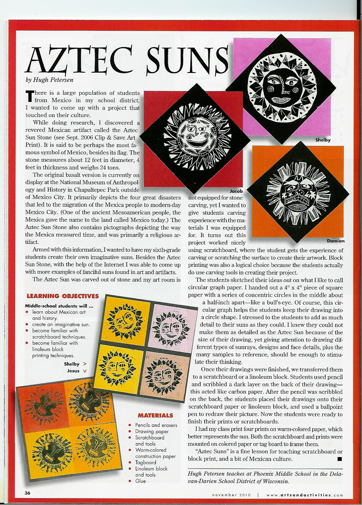 Aztec Calendar Art Lesson Plan : Art teacher s lessons published in national magazine