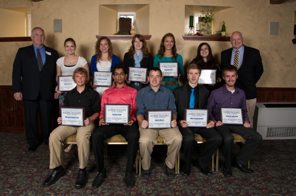 DDHS Academic Top 10. Front row, from left: Michael Vander Zee, Kishan Patel, Caleb Marse, Ethan Lewandowski, Samuel Logterman; back row: Superintendent Robert Crist, Nicky Sterken, Hayley Severson,Lauren Kuntz, Alexandra Kort, Therese Hartogh, Principal Mark Schmitt. (Click pic to enlarge.)