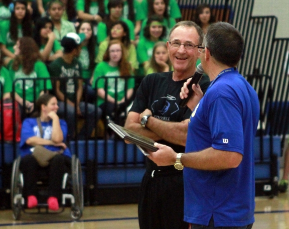 Ron Bronson (left) is introduced by Athletics Director Craig Lodahl at the DDHS Homecoming Pep Rally earlier this year.