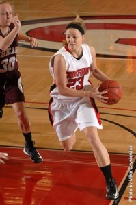 Michelle Wenzel in game action for Carthage College. (Carthage College Athletics Photo.)