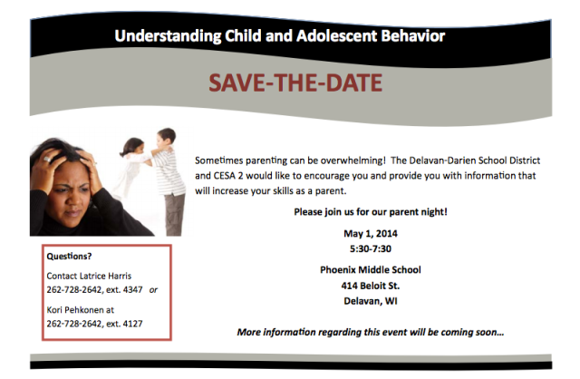 PARENTS: Save the Date: May 1