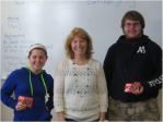 Katelyn Gonzalez (left) and Brody Brown (right) won the Titan Challenge during period 1. They're pictured with Laura Patterson of BMO Harris Bank in Delavan.