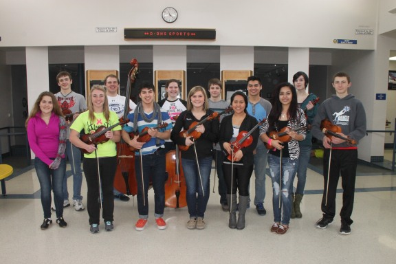 Orchestra and choir members who are heading to the WSMA State Solo and Ensemble Festival include, front row, from left: Racquelle Simons (choir), Katherine Riley, Aaron Wojciechowski, Haylie Rogers, Alina Moreno and Vanessa Rosales; back row: Dorian Miller, Eliah Nelson, Amanda Lee, Liam McPherson, Alonzo Ortiz, Mary Sibilski, and Julien Riviere.