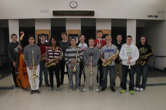 Band members who will be competing at the WSMA State Solo and Ensemble Festival include, front row, from left: Israel Montelongo, Trombone; Melonie Wright, Alto Saxophone; Ismael Coello, Trombone; Noah Quintero, Trumpet; Andrew Pierson, Alto Saxophone; Cole Castel, Trumpet. Back row: Julien Riviere, Bass; Benjamin Parr, Baritone Saxophone; Jason Jeffrey, Guitar; Amanda Lee, Trombone; Nicholas Duerig, Trumpet; Connor Welsh, Trumpet; Amanda Davis, Tenor Saxophone. Not pictured: Ryan Ettner, Trombone; Adam Drefs, Piano; Brian Wilson, Drums; Anthony Welch, Drums.