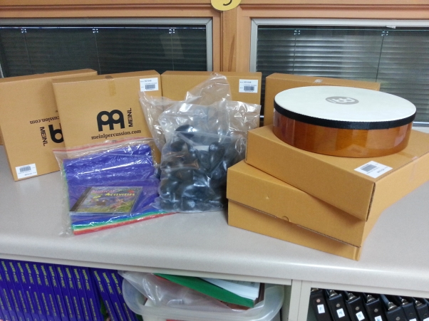 Some of the music education items Turtle Creek music teacher Katie Campbell received through the DonorsChoose website.
