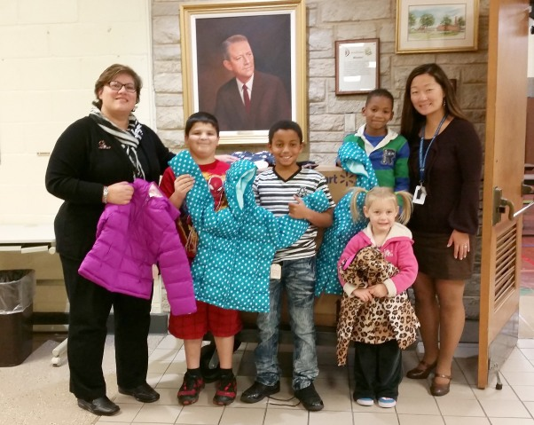 Sonia Raderschadt. Wileman receieved a total of 39 coats and gloves. Back row (green/blue striped shirt) - Joesyah Gilbert - K From row (next to Mrs Pehkonen)- Ethan Baca - 4th, Jusiah Nelson - 4th