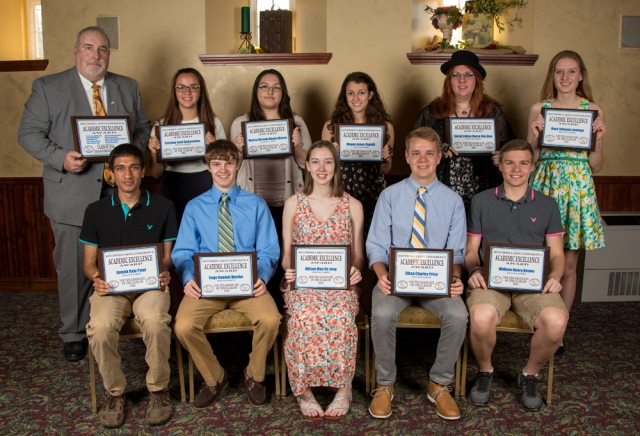 DDHS Academic Top 10 for 2015-16, front row, from left: Aatmik Patel, Gage Wuttke, Allison De Jong, Ethan Price, William Brown; back row: Principal Mike Kolff, Cristina Bahaveolos, Vanessa Valadez Olivares, Megan Rupnik, Sarah Van Dan, Anya Jeninga.